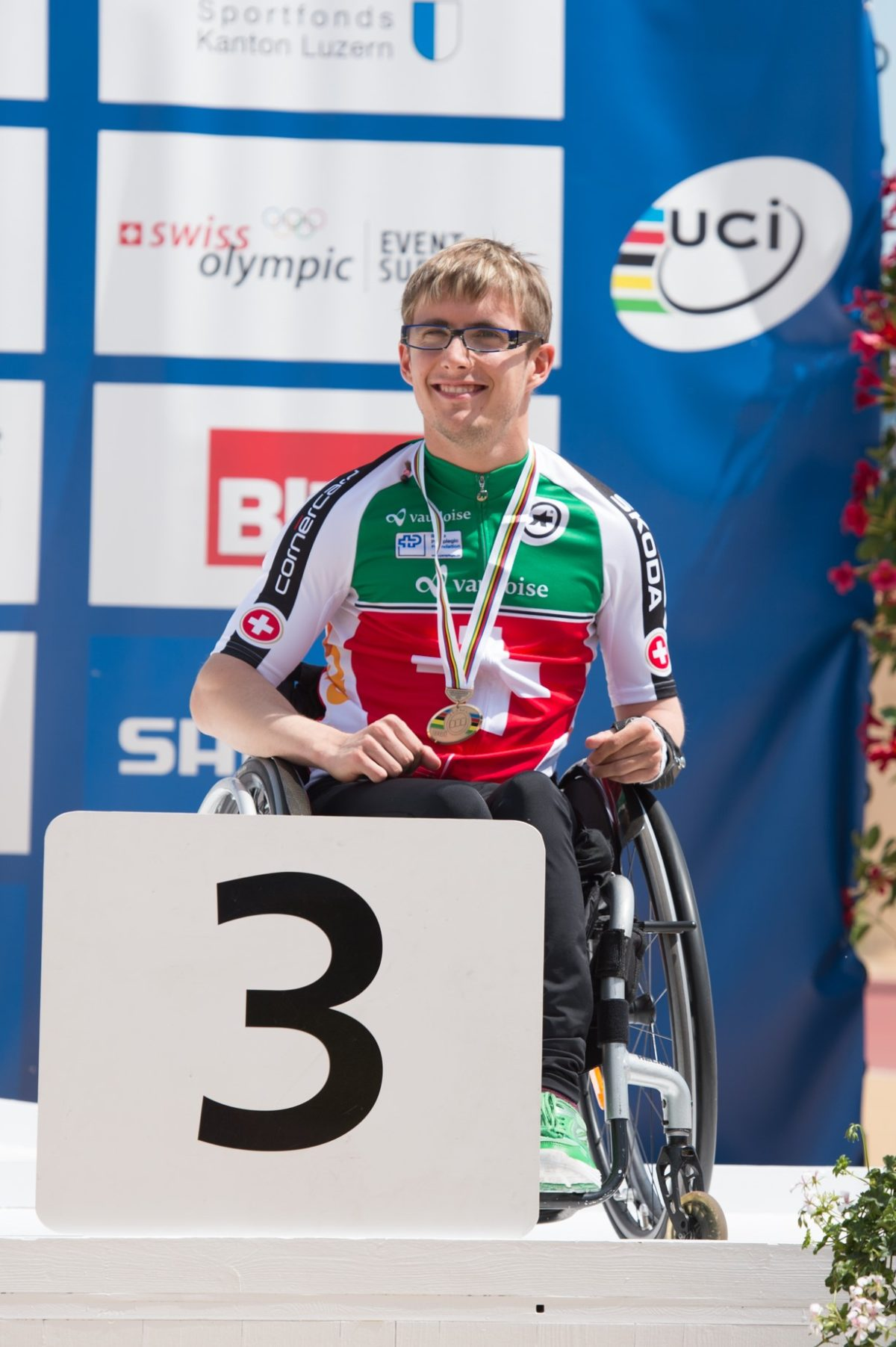 Benjamin Frueh Siegerehrung UCI Para-cycling WM Nottwil 2015